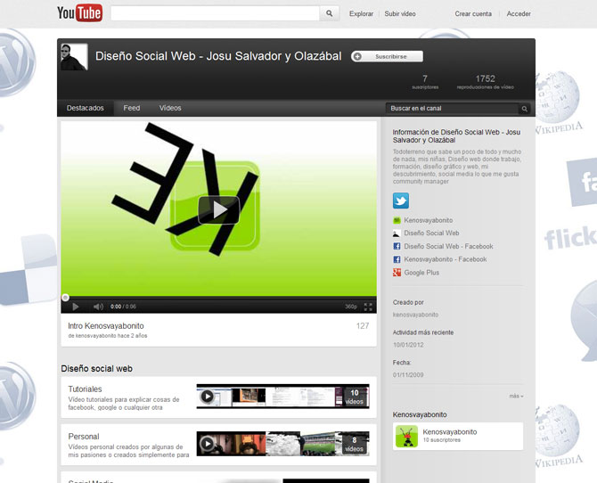 Youtube Diseño social web