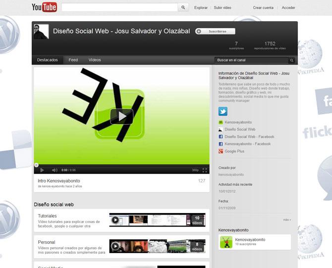 Rediseño canal Youtube - Youtube Diseño social web