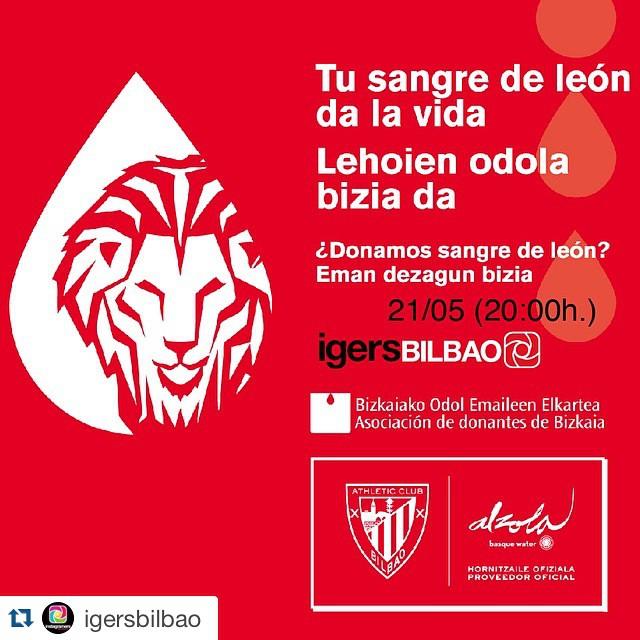 """#Repost @igersbilbao・・・junto con @basquewater y @athleticclub nos sumamos a la campaña solidaria """"Tu Sangre de león da la vida"""" """"Lehoien odola bizia da"""" que busca donantes nuevos para la Asociación de Donantes de Bizkaia y permanecerá activa hasta el día 24 delante del Teatro Arriaga..Los #igers de Bilbao tenemos la cita el jueves 21 a las 20:00. Ven y participa en esta acción social junto con el Athletic y Agua Alzola..#sangredeleon #lehoienodol #instagram"""